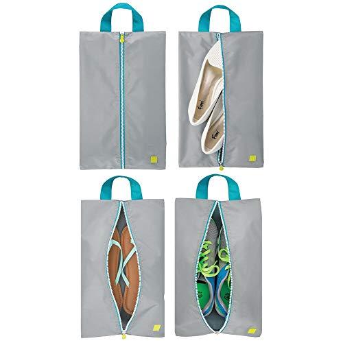 mDesign Juego de 4 bolsas para zapatos – Ligeras bolsas de viaje para guardar zapatos – Fundas con cremallera para deporte, productos de aseo o para la playa – gris/turquesa/blanco