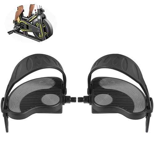 Exercise Stationary-Bike-Pedals with Straps - 1 Pair 1/2' Spindle...