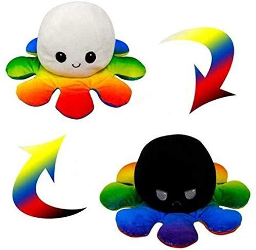 Huay Octopus Plüschpuppe Flip Doppelseitig Reversibel Kuscheltierpuppe Spielzeug Weiche Kreative Spielzeug Geschenke Für Kinder Familie Freunde