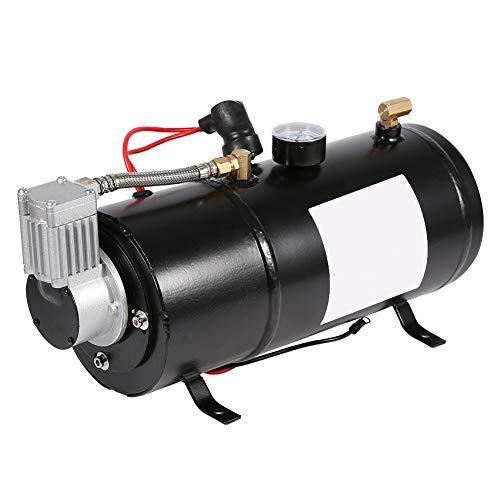Compresor de Aire, inflador de neumáticos Negro a presión incorporada con Accesorios de latón incorporados con Metal para camioneta a Bordo con Tanque de 3 litros