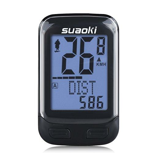 suaoki 改良版 サイクルコンピューター スピードメーター ワイヤレス 簡単取付 バックライト 多機能 ケイデ...