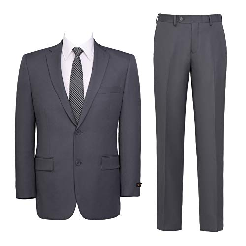 Pio Lorenzo Men's 2-Piece Classic Fit Solid Color Single Breasted 2 Buttons Suit, Grey, 44Regular / 38Waist