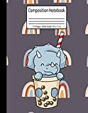 Bubble Tea Triceratops Journal Dinosaur Composition Notebook 110 Pages Wide Ruled 8.5 x 11 in: Dinosaur Bubble Tea Gift