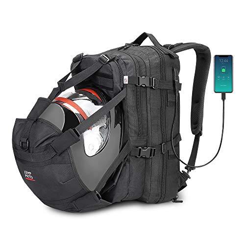 ISSYZONE Mochila para Moto Impermeable  de para Casco  Bolso de Ciclo con Compartamiento