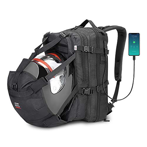 Helmet Backpack, 37L Motorcycle Backpack with USB-charge Port, Large Capacity Waterproof Helmet Holder Luggage Storage Bag Men for Riding Motorbike Outdoor