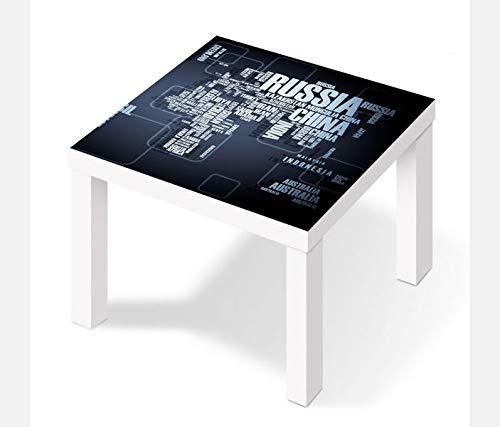 Möbelaufkleber für Ikea Lack Tisch 55x55cm Weltkarte modern Karte Globus Erde Text Schift Aufkleber Klebefolie Möbelfolie Folie (Ohne Möbel) 25W2886