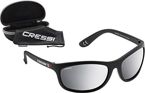Cressi Rocker Occhiali da Sole Sportivi Uomo con Custodia Rigida, Unisex – Adulto, Nero/Lenti Specchiate Grigie