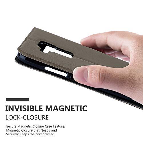 Cadorabo Hülle für Huawei NOVA Plus - Hülle in Stein BRAUN – Handyhülle im Standfunktion und 2 Fenstern (View Design) - Case Cover Schutzhülle Etui Tasche Book Klapp Style - 5