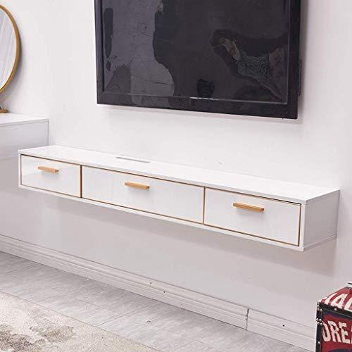 ZXYY Tv-meubel, wandrek, drijvende planken, wandplank, set top box router fotospeelgoed opslagkast, tv-console, achtergrondfoto, wanddecoratie, met lade (kleur: 1.2m-white
