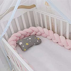 Lion Paw Crib Decor Braid Pillow Cushion 158in Crib Sides Protector Infant Cot Rails Newborn Gift Knotted Braided Plush Nursery Cradle Decor (Pink, 158in)