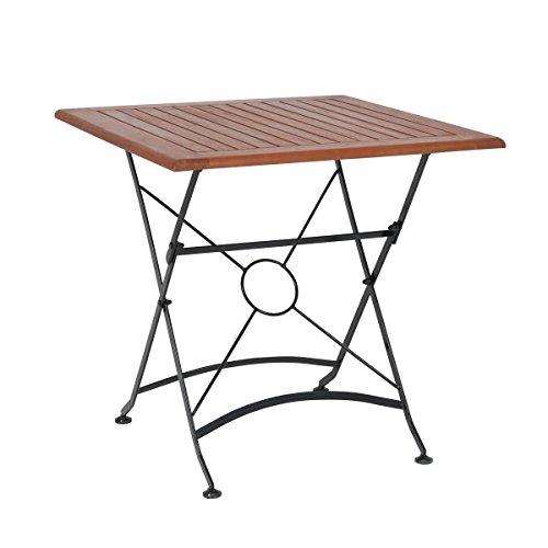 greemotion Outdoor-Klapptisch Borkum, 75 x 75 cm - Design-Gartentisch im Landhaus-Stil - Tisch klappbar aus Holz- & Stahl-Kombination - Holztisch geeignet für Garten, Terrasse & Balkon