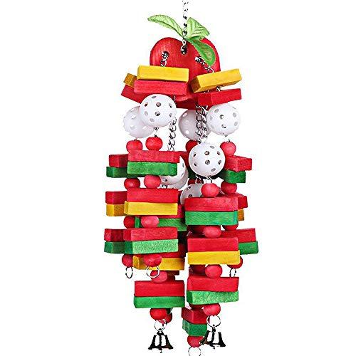 DIYARTS Holz Papagei Spielzeug Hängen Vogel Kauen Bunte Papageien Spielzeug Kleine Mittlere Vogel Block Spielzeug für African Grey Macaws Cockatoos Eclectus