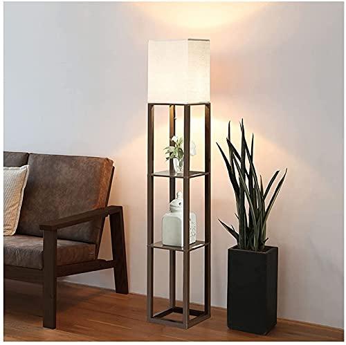 Lámpara de pie de luz de piso con estantes, lámpara de pie con estantes de almacenamiento de exhibición de madera para dormitorio, esquina, sala de estar, luces de piso modernas y simples (atenua