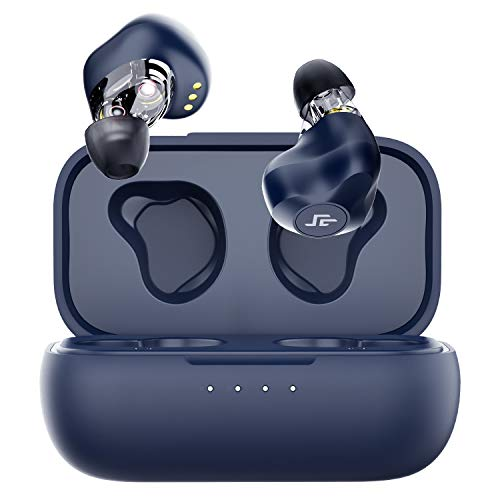 CrossBeats EVOLVE 2020 Dual Dynamic Drivers True Wireless Earbuds, Bluetooth 5.0 in-Ear Earphones with APTX Audio CVC Noise Cancellation Built in Mic, Charging Case, 24 Hours Playtime (Blue)