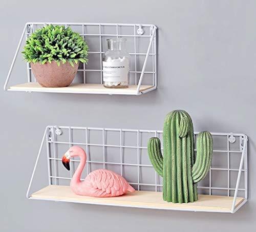 Easy Chic - Estante de pared de metal industrial y madera, color negro y blanco natural, madera, Blanco, Pack of 2(Small+large)