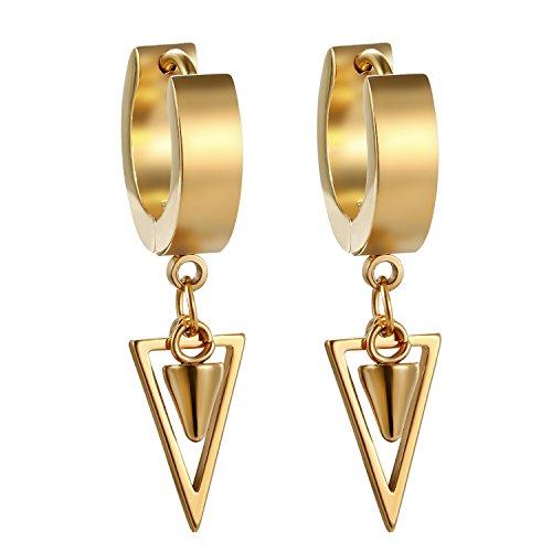 JewelryWe Orecchini da Uomo Donna Orecchini a Cerchio con Pendente in Acciaio Inossidabile Colore Argento/Oro/Nero