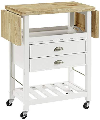 Crosley Furniture Bristol Double Drop Leaf Kitchen Cart, White