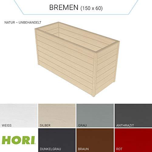 Hori® Hochbeet für den Garten I Gartenbeet, Blumenkasten aus Holz I Modell Bremen (60x150) I Natur
