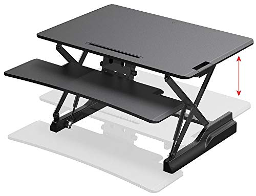 """Monoprice Full-Size Sit-Stand Workstation Converter - 35.4 x 23in Table Top, Single Display, Height Adjustable 5.9""""-19.7"""" - Workstream Collection"""