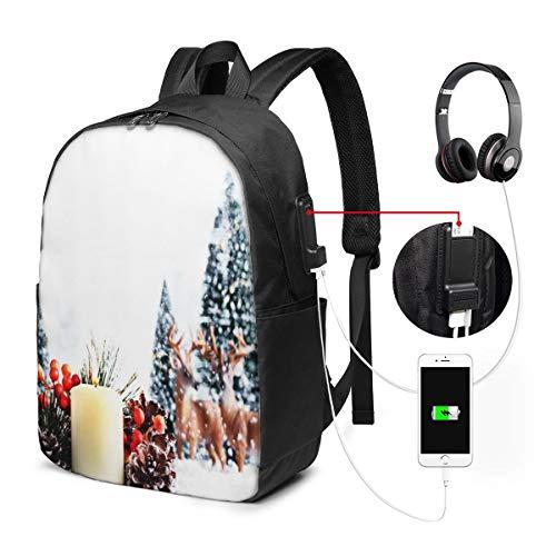 Laptop Backpack with USB Port Celebrating Scene Christmas Snow Tree, Business Travel Bag, College School Computer Rucksack Bag for Men Women 17 Inch Laptop Notebook