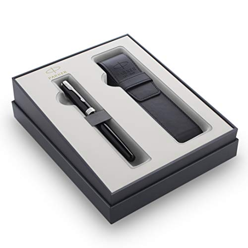 Parker Sonnet penna stilografica nera con finiture cromate + custodia per penna PU