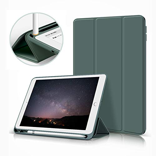 aoub iPad 2019 10.2 inch case, drop resistant and wear-resistant, built-in pen holder, smart silicone protective case with sleep/wake, suitable for iPad 7 generation 10.2 inch, dark green.