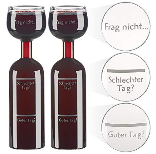 Rosenstein & Söhne Weingläser: 2er-Set 2in1-Weinflaschen & XXL-Gläser, Echtglas, mit Aufdruck, 750 ml (Weinglas bauchig)