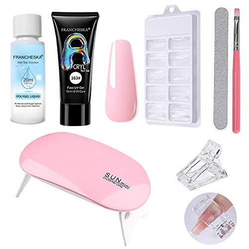 qingyin Poly Nail Extension Gel Kit, Naturharz Extension Gel Nagelverstärker, 100 Nagelverlängerungsformen, Mini-UV-Lampen, All-In-One Maniküre-Set