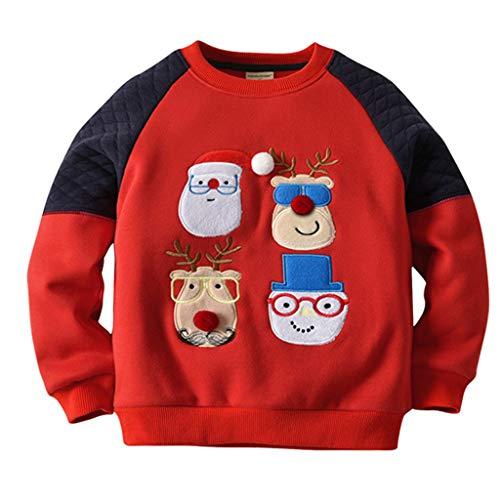 Felpe Sportive Del Natale Bambino Maglione A Manica Lunga Babbo Natale Cotone Pullover, Blu Reale 6-12 Mesi
