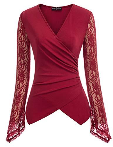 Damen Steampunk Unregelmäßiger Festlich Party Bluse Elegant Spitze Cocktail Langarm Shirt Rot XL