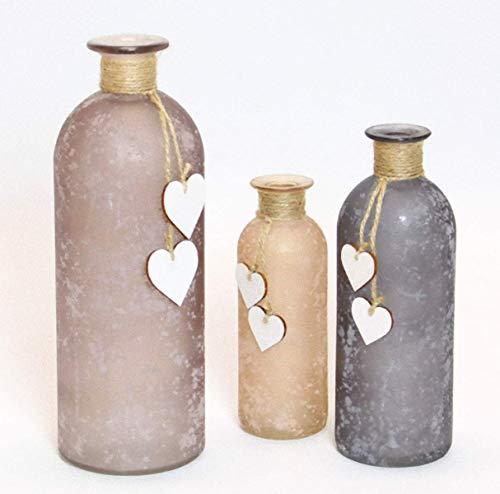 3 Premium-Deko-Flaschen im Set - Farbe: erdtöne - Vasen Dekoflaschen mit Herzen - Dekoration Deko Tischdekoration Flasche Vase Tischvasen Dekoflaschen Väschen Vasen Glasvasen