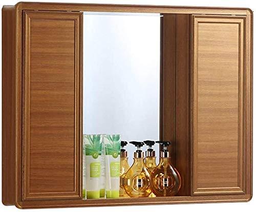LAMTON Gabinete de Espejo Deslizante Cuarto de baño Gabinete de Farmacia Impermeable Gabinete de Almacenamiento Pared Soporte Soporte de Cepillo de Dientes (Color : Gold, tamaño : 80 * 13 * 67cm)