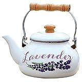 Riyyow 2.5L Ollas de té Blanco Esmalte de Gas Hervidor de Gas...