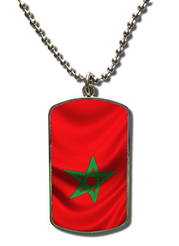 Kette Dog Tag Anhänger Marokko Fahne 1