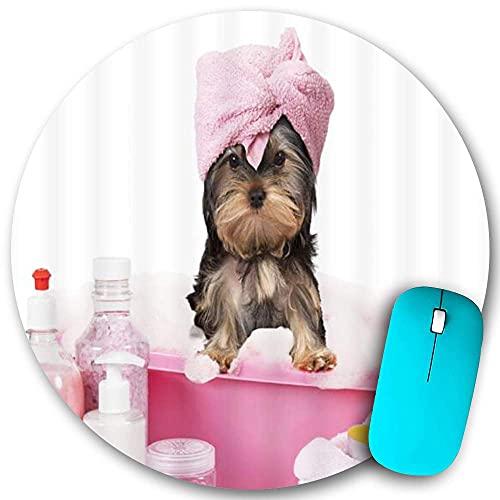 Rundes Mauspad Rutschfester Gummi, lustiger süßer Hund Welpe Kreativer Schnauzer Handtuch Spa Tier Einfache, wasserdichte, haltbare Mausmatte Büro Desktops Persönlichkeit 7,9 \'x 7,9\'