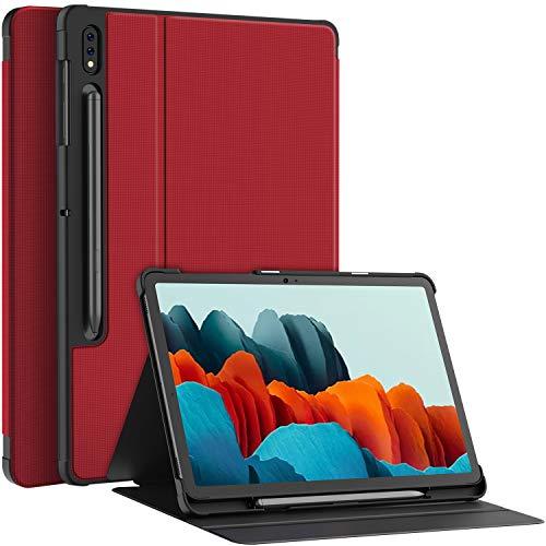 Soke Folio Hülle Kompatibel mit Samsung Galaxy Tab S7 11 2020(T870/T875), Prumium PU Rückseite Schutzhülle Magnetisches Smart Cover mit Stifthalter, Mehrfachwinkel, Auto Schlaf/Wach, rot