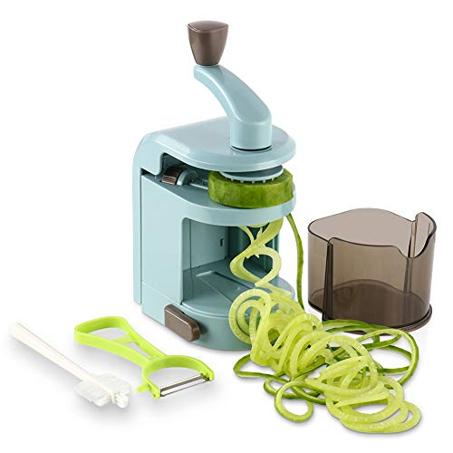 Ourokhome Vegetable Spaghet Zucchini Noodles Maker – 4 Built-in Spiral Slicer Blade for Veggie Spaghetti Paste, Teal