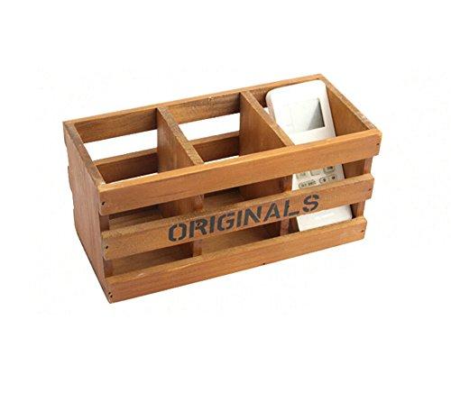 gespout de madera de almacenamiento de escritorio multifunción cofres Cajas Cajas rectangulares para suculentas papelería escritorio acabado cerveza  Marrón , madera, marrón, 24*10.2*11.5CM