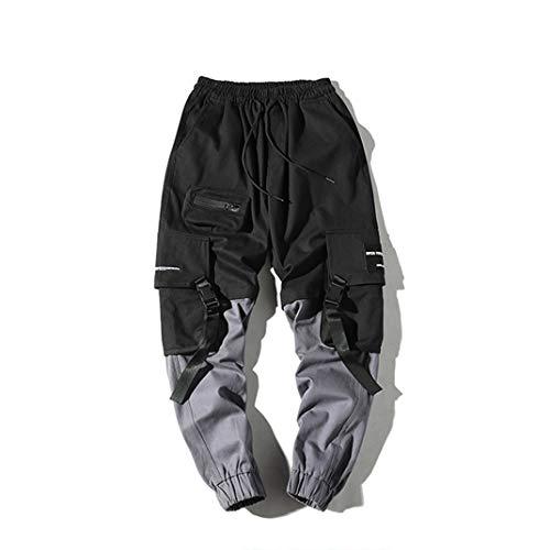 Männer Streetwear Hosen Harajuku Bänder Multi-Taschen schmücken elastische Nähte Farbe Mann Casual Hip Hop Cargo Hosen