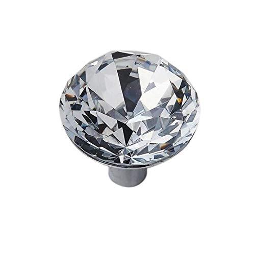 Fijnere 1 Pcs Europese Transparante Kristal Handvat Enkele Gaten Kast Garderobe Deurklink Glas Boor Zinklegering Handvat Voor Kast Ward, 31x31mm