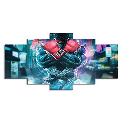 WLHZNB Impresiones sobre Lienzo Street Fighter Pintura Al Óleo 5 Piezas HD Arte De La Impresión De La Pintura De La Lona Decoración Casera Moderna Tamaño B