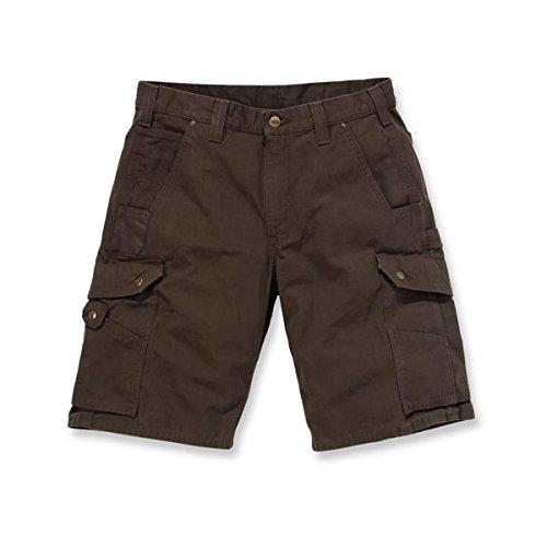 Carhartt .B357.DFE.S528 Ripstop Cargo - Pantalón corto de trabajo, color marrón oscuro, W28