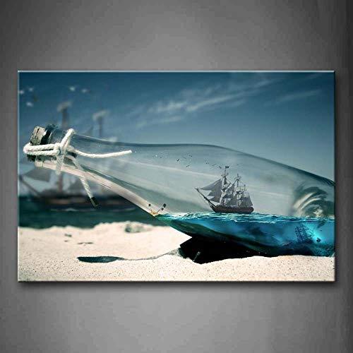 NIMCG Imágenes de Arte de Pared Barco Botella de Vidrio Playa Impresión de Lienzo Carteles de Arte con Decoración de la Sala de Estar en el hogar (Sin Marco) R1 40x50CM
