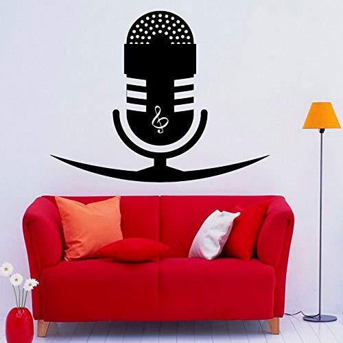 zhuzhuwen Riley Muurstickers, Muziek Microfoon S Treble Clef Opmerkingen Home, Decal Waterdichte Vinyl Behang Muur Kunst