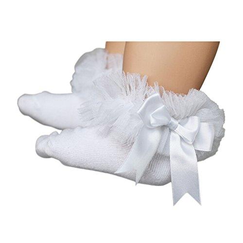 YeahiBaby Babysocken Mädchen Prinzessin Bowknot Baumwolle kurze Socken Baby Mädchen Taufe mit Spitze Größe S (weiß)