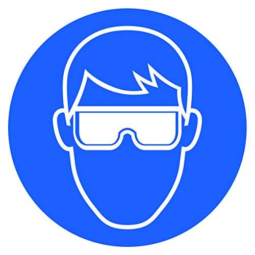 10 Stück Schutzbrille Aufkleber Augenschutz tragen Sticker Ø 9,5cm Gebotszeichen mit UV Schutz Hinweiszeichen für Außenbereich Innenbereich von STROBO