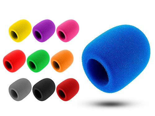 Suddefr - Funda de espuma para micrófono de mano, parabrisas, 10 unidades, cubierta de esponja lavable para micrófono de mano.