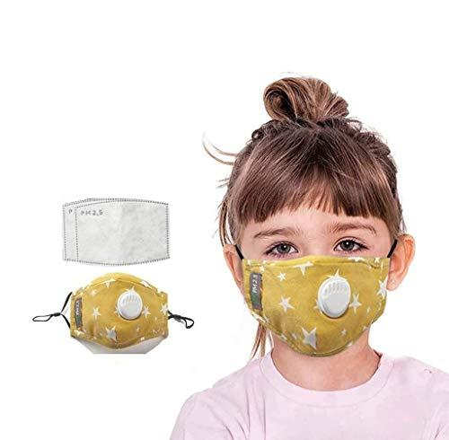 Walea Bandanas Protectoras Desechables para niños, patrón de Estrella, Filtro de cinturón Transpirable, Tela de algodón (una Tela de algodón + Dos filtros)