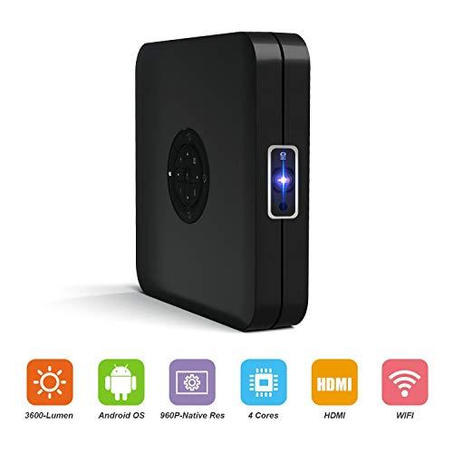 Video Projektor Tragbar K1 Intelligenter Beamer 3600 Lumen Hoher Helligkeit Android Projektor Unterstützt 1080P 300'' Maximal WiFi BT4.2 HDMI mit Tastatur & Fernbedienung Autofokus Großer Lautsprecher
