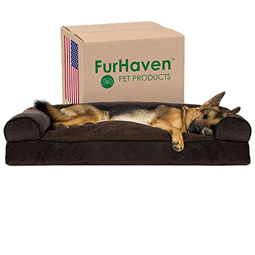 Furhaven Pet Dog Bed - Faux Fleece and Chenille Soft Woven Pillow Cushion Traditional Sofa-Style Living Room Couch Pet Bed with Removable Cover for Dogs and Cats, Coffee, Jumbo